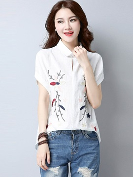Lapel Embroidery Linen Blouse