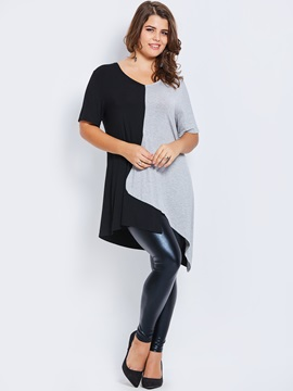 Plus Size Color Block Patchwork T-Shirt