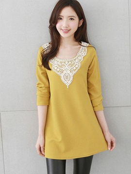 Chic Lace Patchwork Mid-Length T-Shirt