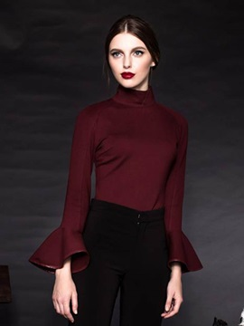 Turtle Neck Plain Bell Sleeve T-Shirt