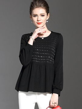 Loose Round Neck Bead T-Shirt