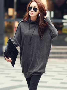 Plain Turtle Neck Batwing Sleeve T-Shirt