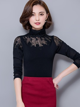 Turtleneck Hollow Lace Slim Blouse