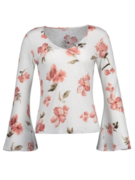 Flara Sleeve Floral Slim Women's T-Shirt