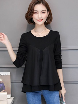 Long Sleeve Round Neck Loose Blouse T-Shirt