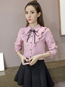 Long Sleeve Lapel Slim Women Blouse