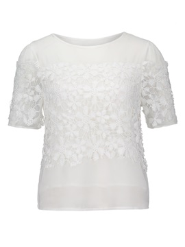 Lace Slim Short Sleeve Women T-Shirt
