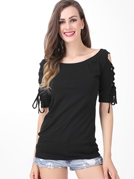 Half Sleeve Slim Slash Neck Patchwork T-Shirt