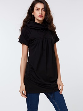 Cotton Blends Heap Collar Regular T-Shirt