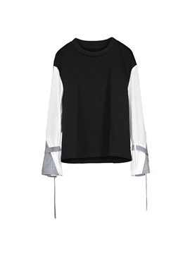Stand Collar Color Block Flare Sleeve Women's T-shirt