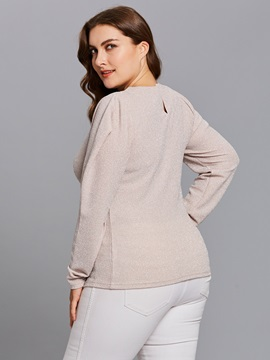Plus Size Long Sleeves Women's T-Shirt