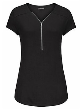 V-Neck Patchwork Plain Women's T-shirt