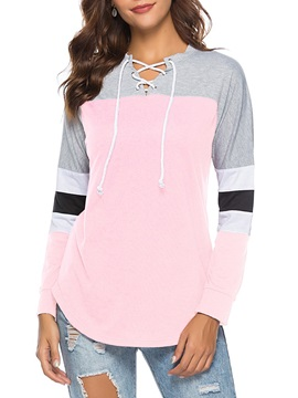 Color Block Long Sleeve Lace-Up Women's T-Shirt