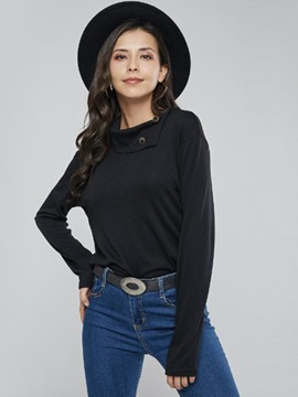 Standard Oblique Collar Bead Fall Women's T-Shirt