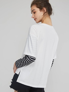 Patchwork Long Sleeve Standard Women's T-Shirt
