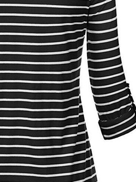 Mid-Length Long Sleeve V-Neck Striped Women's T-Shirt