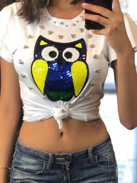 Animal White Short Sleeve Slim Women's T-Shirt