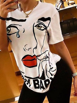 Short Sleeve Round Neck Character Casual Women's T-Shirt