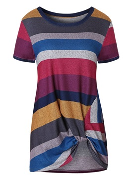 Mid-Length Short Sleeve Round Neck Casual Women's T-Shirt