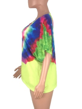 Colorful Print Round Neck Short Sleeve Loose Women's T-Shirt