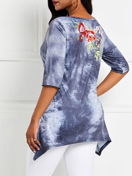 Floral Loose Mid-Length Round Neck Women's T-Shirt