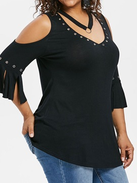 Plus Size Hole V-Neck Slim Plain Women's T-Shirt