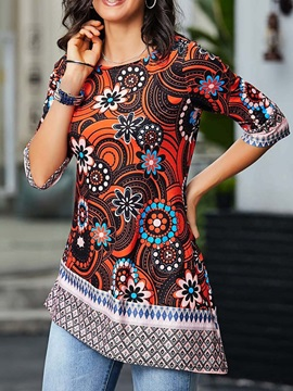 Plus Size Color Block Floral Mid-Length Women's T-Shirt
