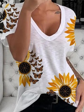 Mid-Length Floral Short Sleeve Slim Casual Women's T-Shirt