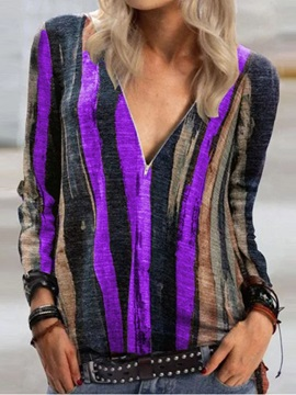 Stripe V-Neck Long Sleeve Fashion Loose Women's T-Shirt