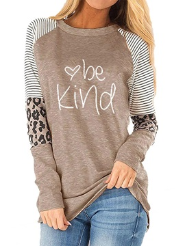 Long Sleeve Leopard Standard Loose Fall Women's T-Shirt