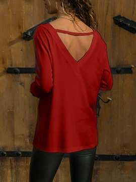 V-Neck Color Block Long Sleeve Casual Loose Women's T-Shirt