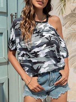 Standard Short Sleeve Camouflage Loose Casual Women's T-Shirt