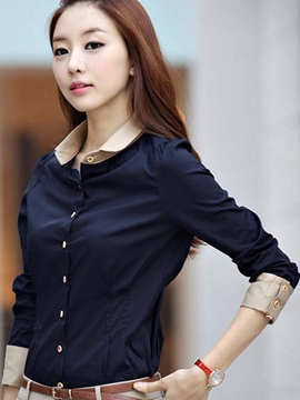 Deluxe OL Style Korean Style Color Block Slim Long Sleeve Shirt