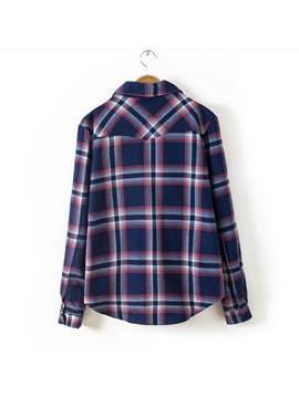 Glorious Preppy Style Long Sleeves Plaid Pockets Lapel Blouse