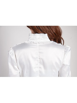 Long Sleeve Falbala Stand Collar Work Shirt