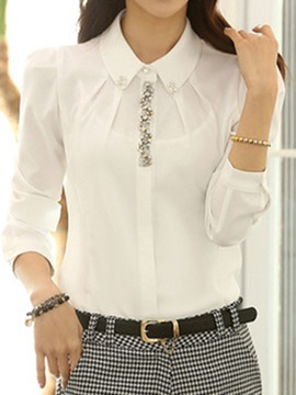 Solid Color Lapel Long Sleeves Shirt