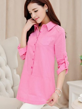Chic Lace Decoration Shoulder Slim Work Shirt