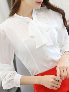 Special Lace-up Collar See-through Sleeves Shirt