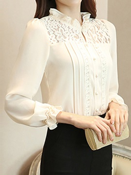 Special Lace Decoration Slim Work Shirt