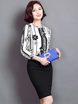 Chic Floral Printed Work Shirt