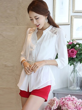 Chic Lace Decoration Shoulder Shirt