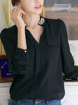 Chic Bead Decoration Collar Chiffon Work Shirt
