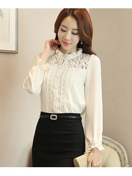 Chic Pleated Collar Lace Decoration Shirt