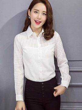 Chic See-through Sleeves Slim Shirt