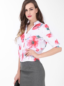 Special Collar Floral Printed Shirt