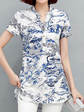 Special Pattern Button Decoration Slim Shirt