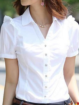 Chic Pleated Decoration Shoulder Shirt