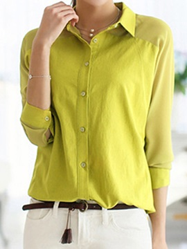 Stylish See-through Chiffon Sleeves Shirt
