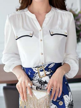 Stylish Button Decoration Pocket Shirt
