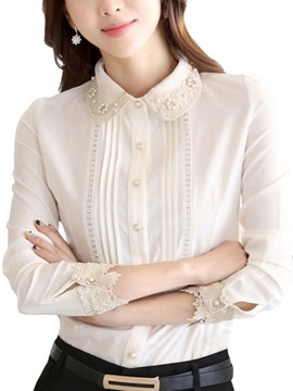 Chic Bead Collar Pleated Decoration Shirt